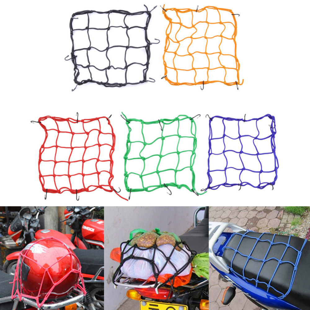 30*30cm Motorcycle Helmet Net Mesh For Storage Carrier Bags,Cargo Net For Motorcycles,Helmet Sundries Fix Mesh With 6 Metal Hook