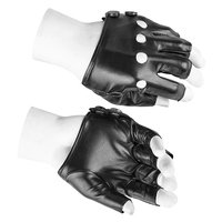 Black Rock Gothic Punk Pu Leather Short Gloves Men 2017 Fingerless Leather Gloves Mittens Motorcyle Accessories