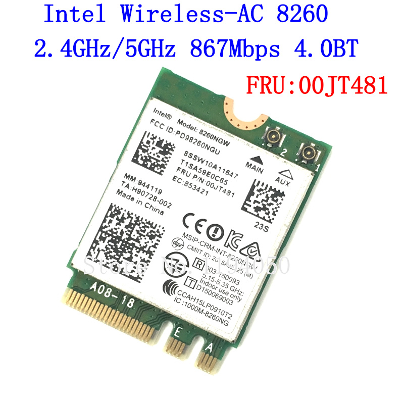 IBM Lenovo Dual Band For Intel Wireless-AC 8260 8260NGW NGFF M.2 802.11ac 867Mbps WIFI Bluetooth 4.2 Wlan Card 00JT481