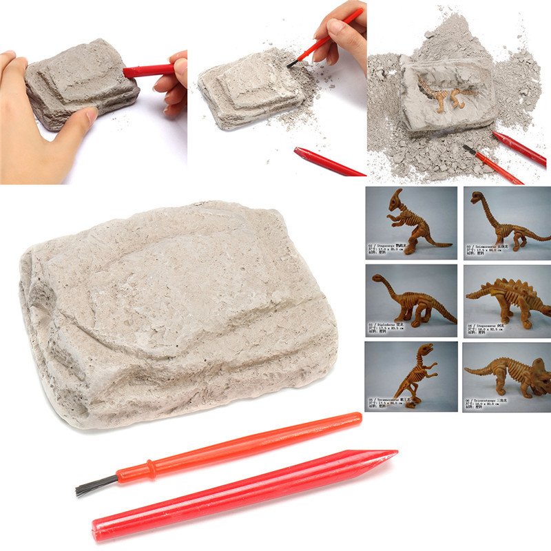 1Set 9.5x6.5x3.5cm Dinosaur Excavation Kit Simulation Archaeology Digging Up Fossils Toy Model Children Learning Educational Toy(China)