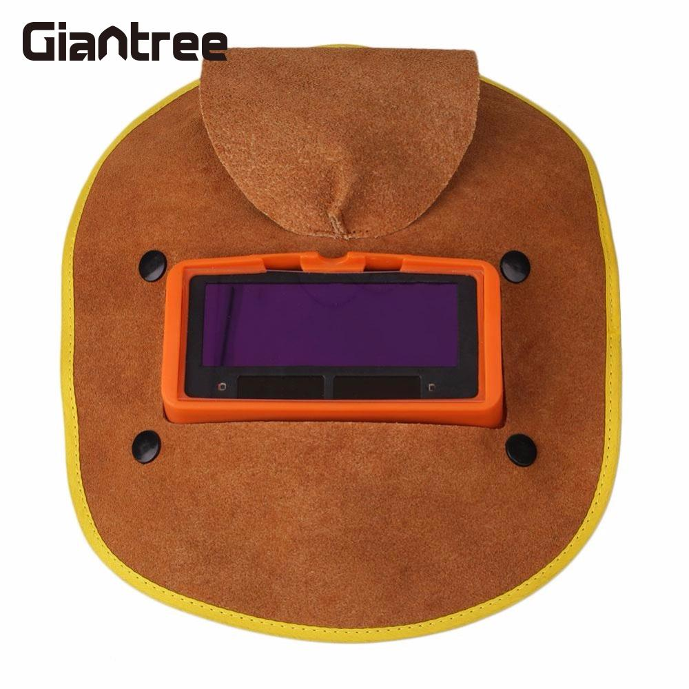 giantree Protable Leather Solar Power Auto Darkening Filter Lens Hood Welding Helmet Mask safurance leather hood welding helmet