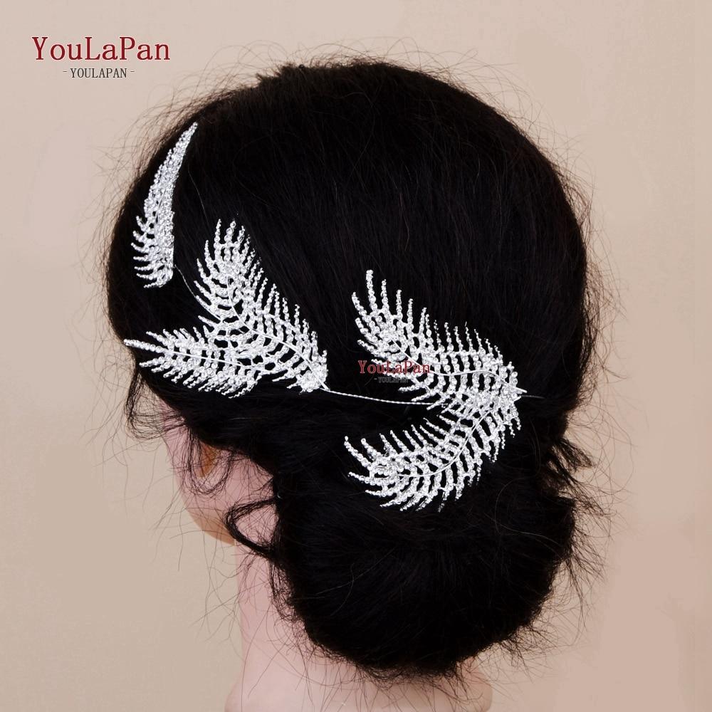 YouLaPan HP261 Wedding Hair Accessories Shinny Rhinestone Feather Shape  Bridal Hair Jewelry Sliver Alloy Leaf Bridal Headpiece