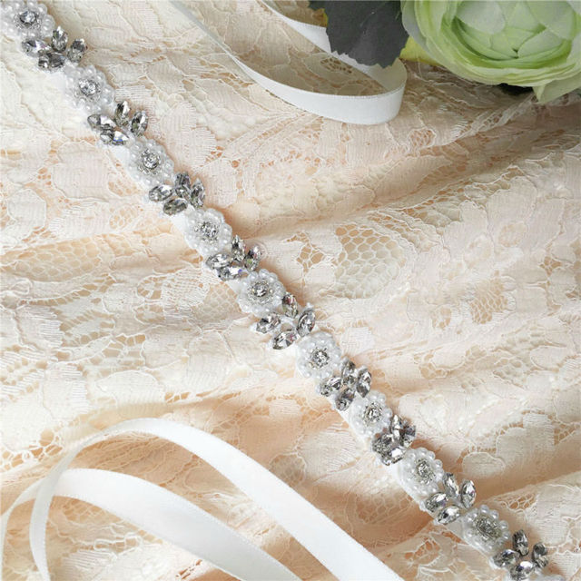 TOPQUEEN S101 Crystal Rhinestones Evening Party Prom Dresses Accessories Wedding Belt Sashes,Bride Waistband 1cm