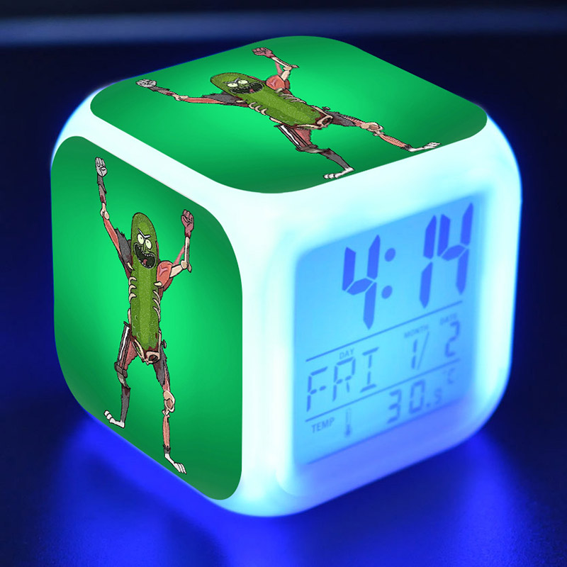 Pickle Rick Anime Figurines LED Alarm Clock Flash Color Changing Touch Light Rick And Morty Figure Toys