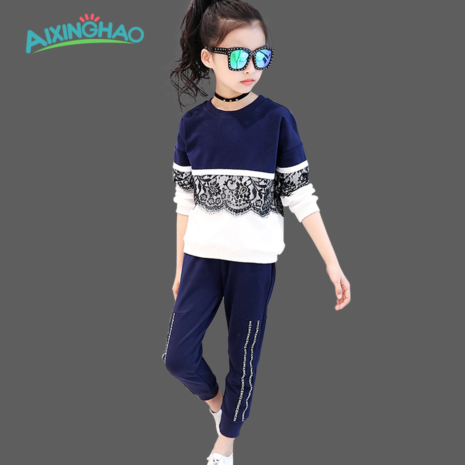 Aixinghao Girls Sports Suits Fashion Toddler Girl Clothing Sets 2017 Spring Autumn Lace Coat Outfit Clothes Size 4 6 12 14 Year 2014 spring autumn new fashion girls sports suits zipper coat trousers flowers print big girl clothes sets children sportswear