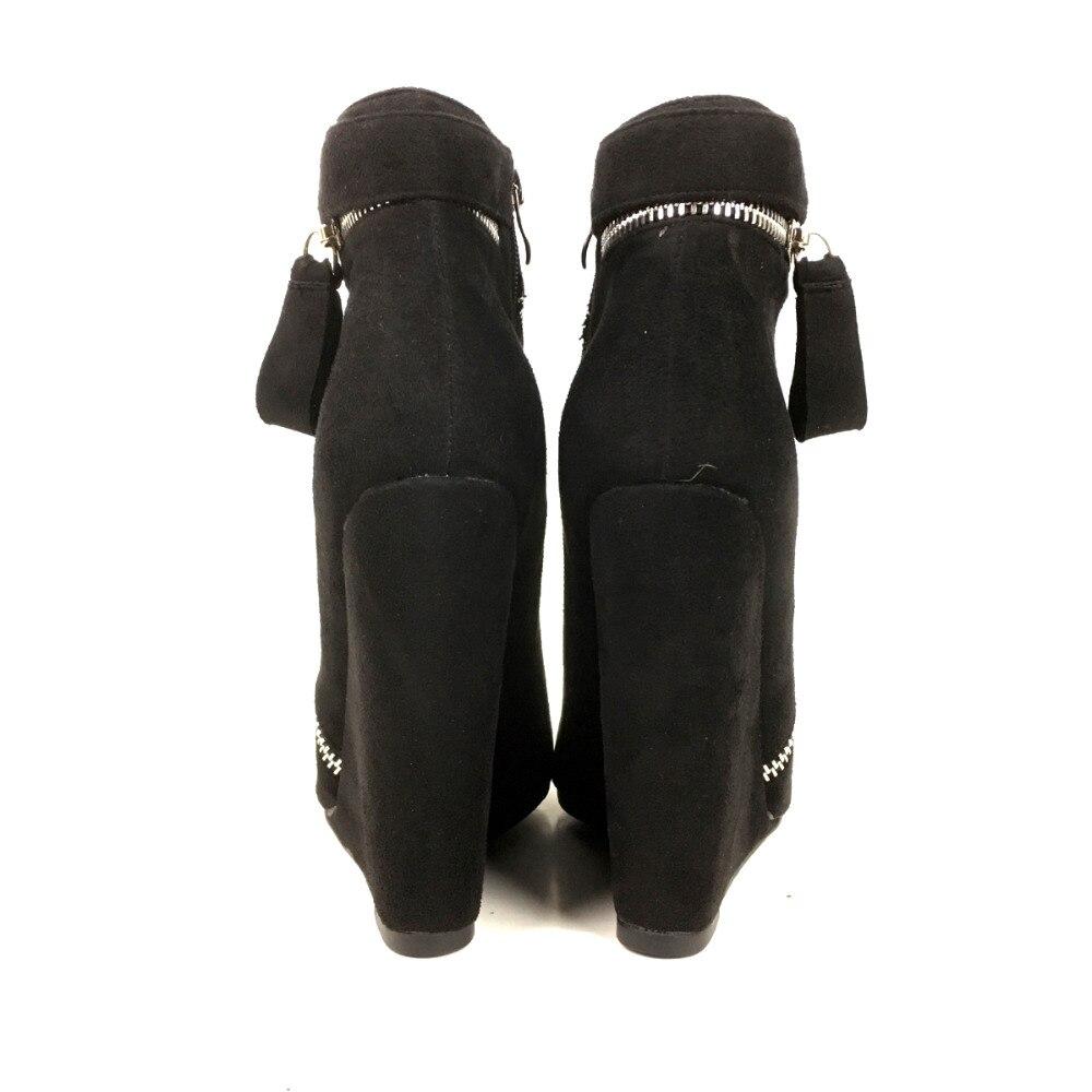 Vestido Otoño Tamaño ~ Dedo Invierno Moda Botas E Las Tobillo Cuñas 13 Fiesta De Negro Tacón Zapatos Mujeres Cremallera Pie Aiyoway Señoras Redondo Del 5 Tqpwp4