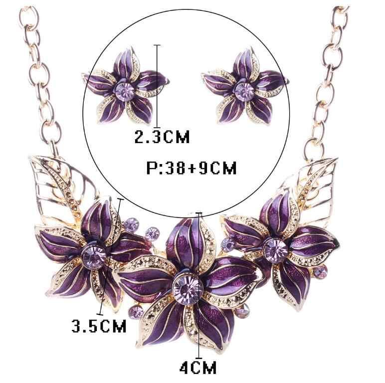 Austriackie kryształowa emalia kwiat zestawy biżuterii kobiety strój afrykański biżuteria naszyjnik maxi zestaw kolczyków XY-N404