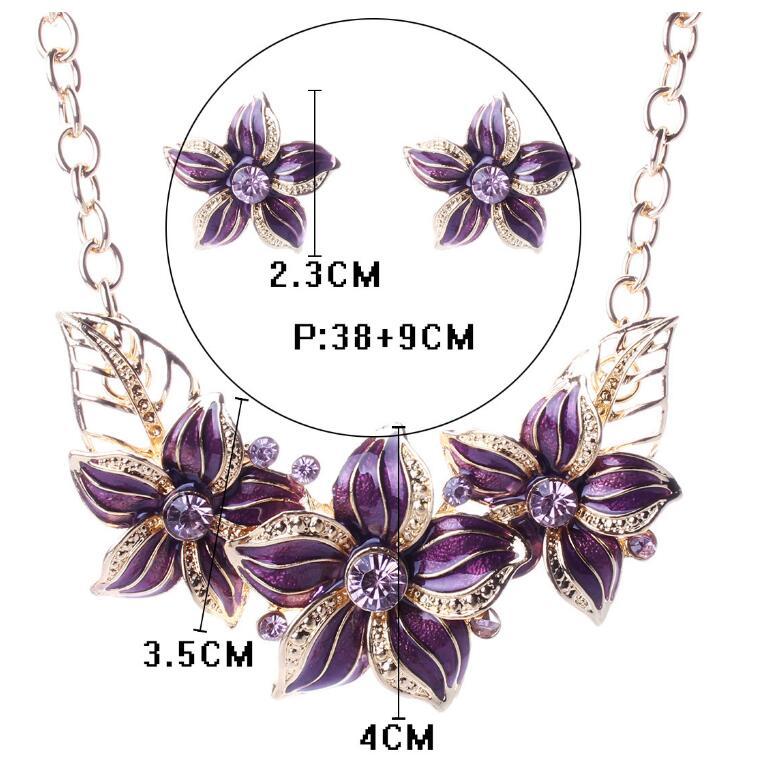 US $1.68 37% OFF Österreichischen Kristall Emaille Blume Schmuck Sets Frauen Afrikanischen Kostüm Schmuck Maxi Halskette Ohrring Set XY N404 in