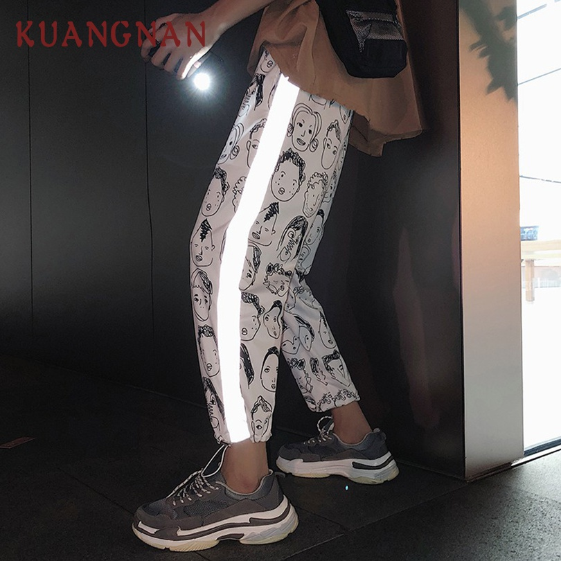 KUANGNAN Men Pants Streetwear-Pants Ankle-Length Reflective Casual XXL