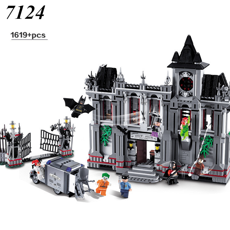 Decool 7124 1619 pcs Comics Super Heroes series the Batman Arkham Asylum Breakout Brick model building blocks compatible 10937