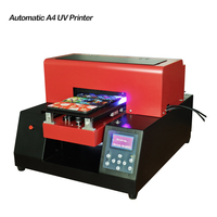 UV Flatbed Printer LED Advanced 6 color inkjet with emboss effect Golf A4 UV Printer for Phone Case, T shirt, leather, TPU