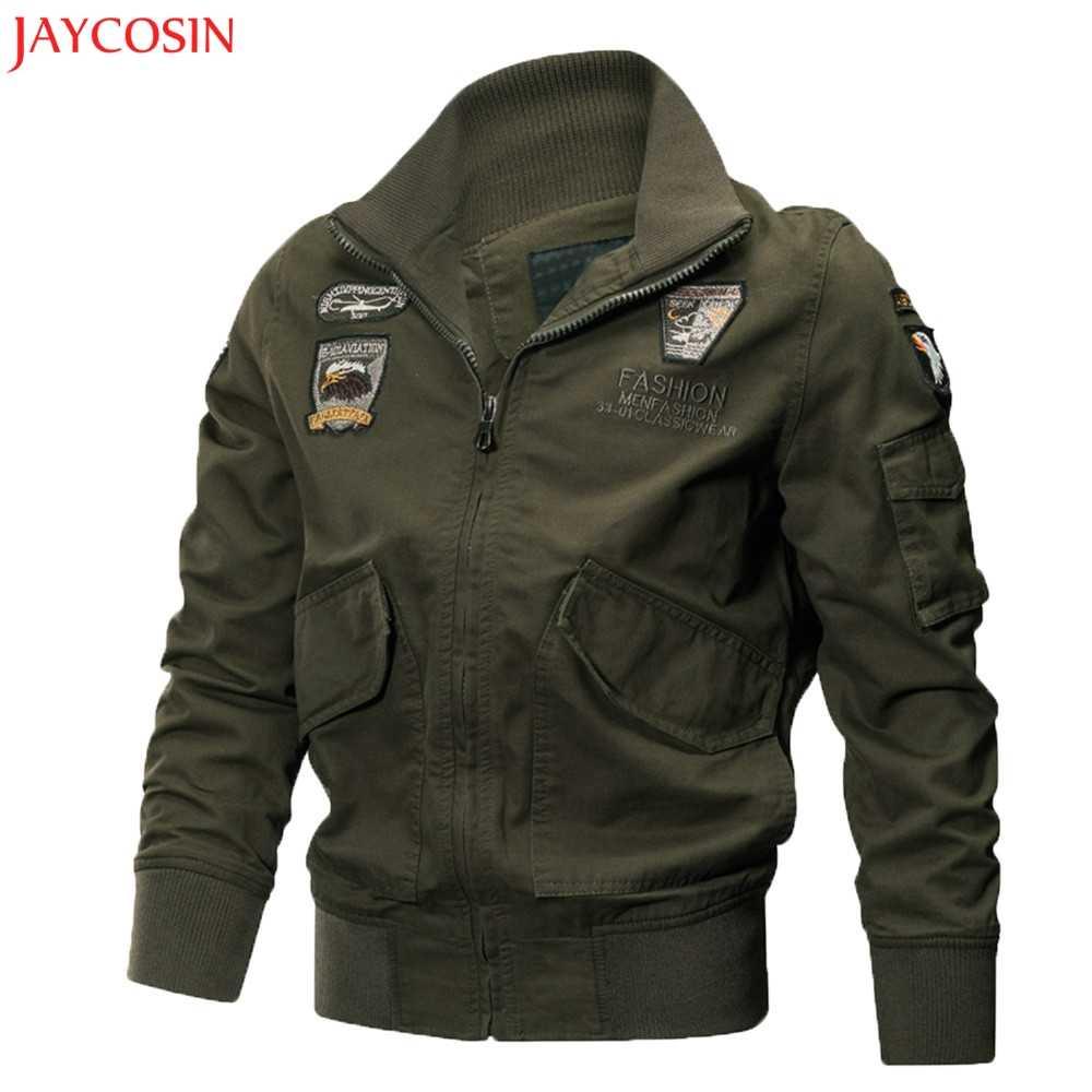 JAYCOSIN M-3XL Для Мужчин's осень-зима Повседневное с длинным рукавом полиэстер однотонная куртка на молнии блуза Топ, цвета: черный, зеленый, хаки модные z1005
