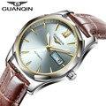 GUANQIN Fashion Top Luxury Brand Watch Luminous Leather Mens Automatic Mechanical Watch Date Men Waterproof Watches