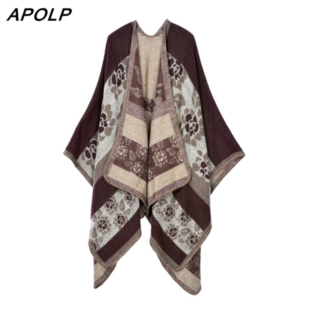 APOLP Brand Women Blanket Poncho Scarf Print Winter Scarf Cape Woman Vintage Large Size Tartan Shawls And Scarves