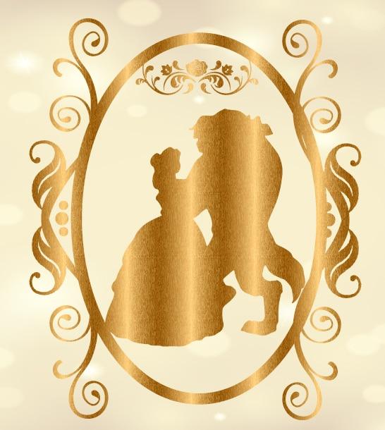 8x8ft Gold Frame Crown Beauty Beast Dance Custom Photography