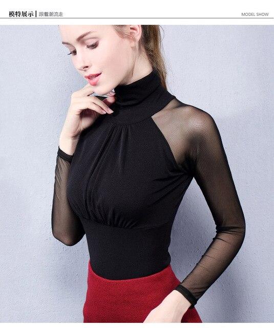 Moda Jihan Women's Shirts Long Sleeve See Through Mesh Tops Turtle Neck Folded Slim Plus Size Elegant Ladies Bottoming Shirts