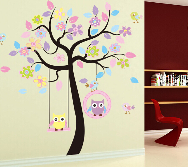 Aliexpress.com : Buy Cute Cartoon Nursery School Wall Decals Tree Of Life  Birds Flowers Leaves Children Bedroom Wall Sticker Owls Swing Wallpaper  From ... Part 80