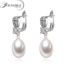 Real wedding natural freshwater pearl earrings for women,925 silver drop earrings pearl girlfriend gift