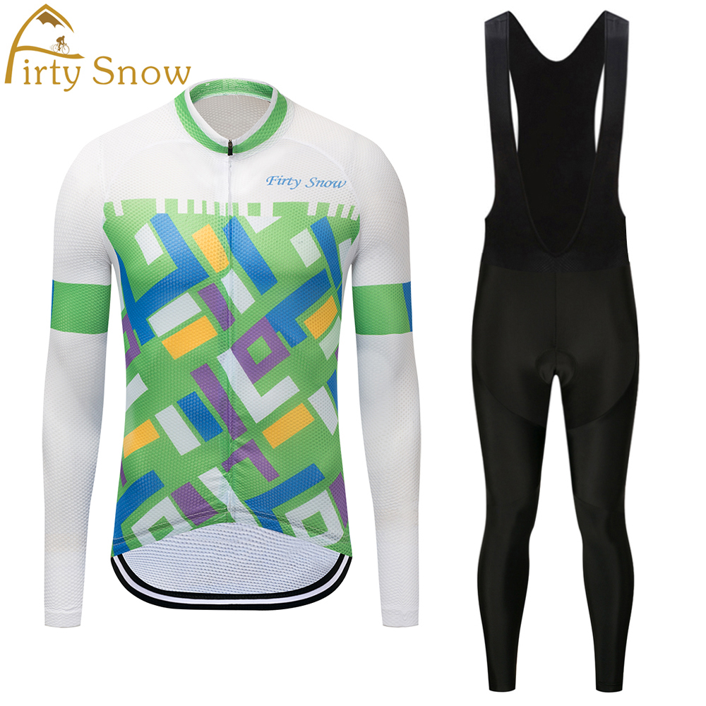 Firty Snow Brand 2018 High Quality Newest Pro Fabric Cycling Jerseys Wear Long Sleeves Set Bike Clothing Pants White green