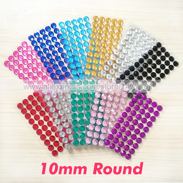 1 sheet 50pcs 10mm round acrylic rhinestone stickers gem flat back self adhesive sticky diamante crystals