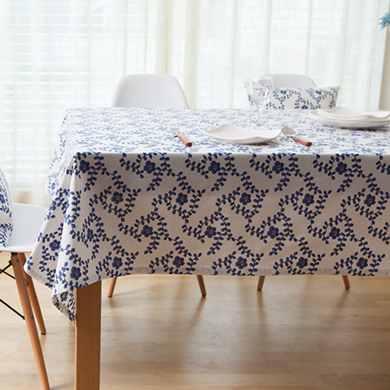 pure linen table cloth coffee tea table cloth white blue floral home hotel restaurant europe american style deal free shipment