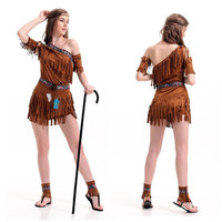 Lady Halloween Costume Women Cleopatra Primitive Native Indian Tribes Female Princess Suit Tassel Stage Performance Suit