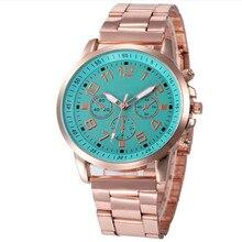 Прочный 2016 мода часы женщины Женева reloj хомбре Нержавеющей Стали Спортивные Кварцевые Часы Наручные Аналоговые Часы