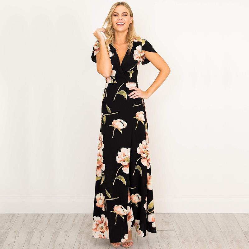 Femmes Rétro Noir Robes à Encolure En V Maxi Robe Imprimé Floral Parti Robe Mère De Mariée Robes Femme Robes WS647C