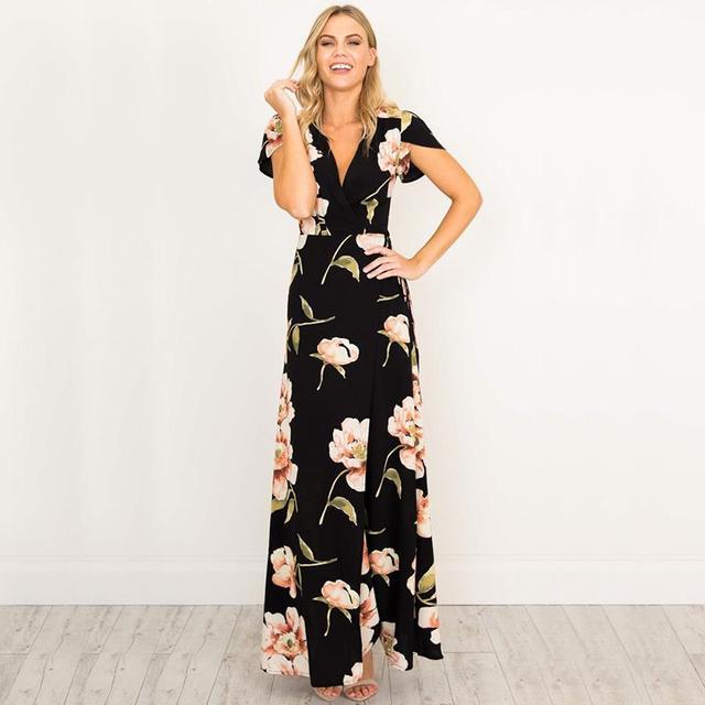 903fab5e3c Women Retro Black Dresses V-Neck Maxi Dress Floral Printed Party Dress  Mother Of Bride Dresses Female Vestidos WS647C
