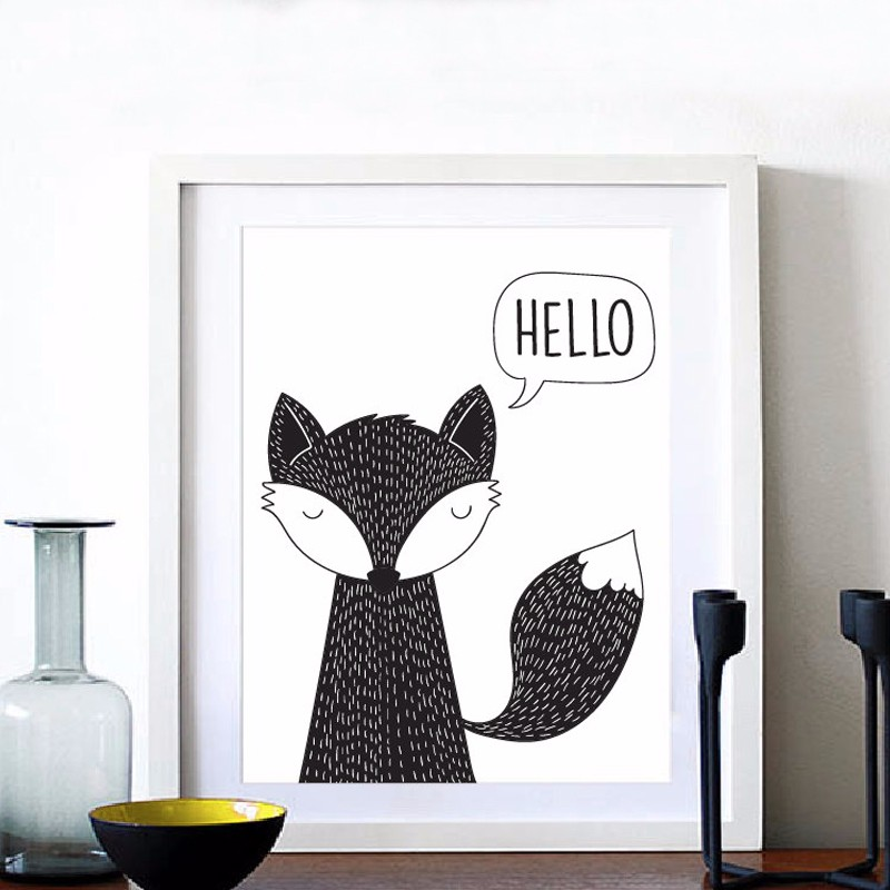 Hello Fox Konsttryck Canvas Poster, Modern plantskola Decor, Fox Kids room decor, Wall art Home Decor, Ramar Inklusive