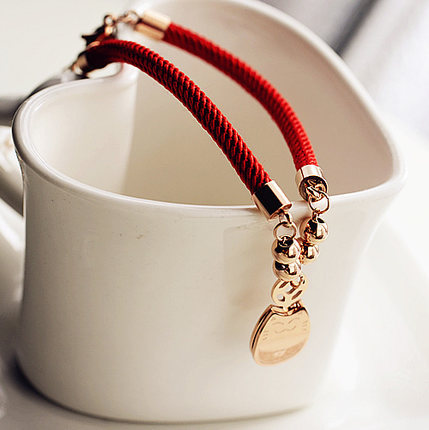 Corde rouge tissage Fortune chat chanceux Bracelet bijoux fins en - Bijoux fantaisie - Photo 4