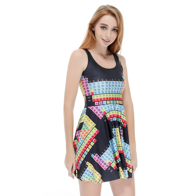 2017 hot summer personality element periodic table digital print 2017 hot summer personality element periodic table digital print pleated with umbrella dress for women urtaz Choice Image