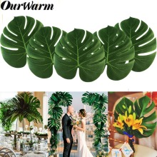 OurWarm 12pcs Artificial Palm Leaves for Wedding Simulation Leaf Tropical Hawaiian Luau Theme Party Decor 35*29cm