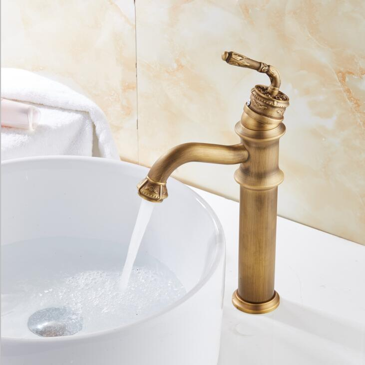 Free Shipping Retro Antique Carved Basin Faucet Bathroom Sink Faucet Luxury Basin Mixer Sink faucet Tap Brass Water Tap southern ghost