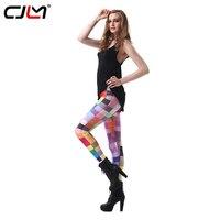 CJLM Tayt Kız 2017 Sıcak Satış Kadınlar Casual 3D Baskı Renkli Kareli Fitness Leggins Seksi Vücut Geliştirme Ince Elastik Pantolon