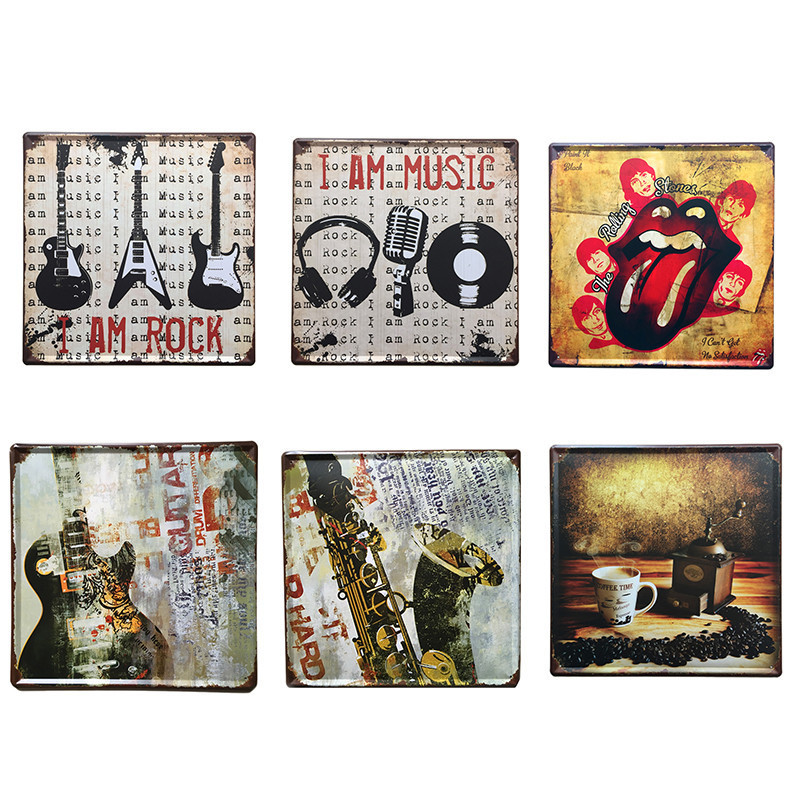 retro decorative metal plaques vintage metal tin signs poster for coffee bar iron sign
