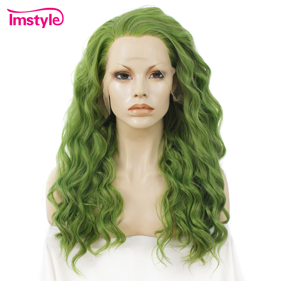 Imstyle Green Wig Deep Wave Synthetic Lace Front Wig High Temperature Fiber Glueless Cosplay Wigs For