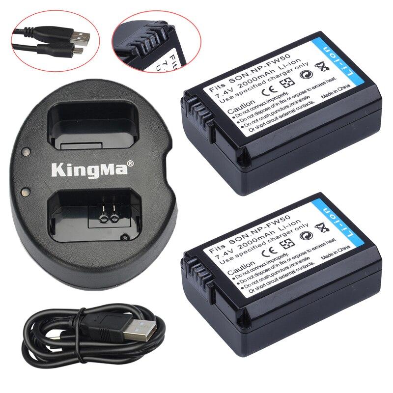 2 unids np-fw50 NP fw50 Baterías + USB cargador dual para Sony nex-5 nex-5a nex-5c nex-5d nex-5db nex-5hb nex-5k Alpha 7R II Cámara