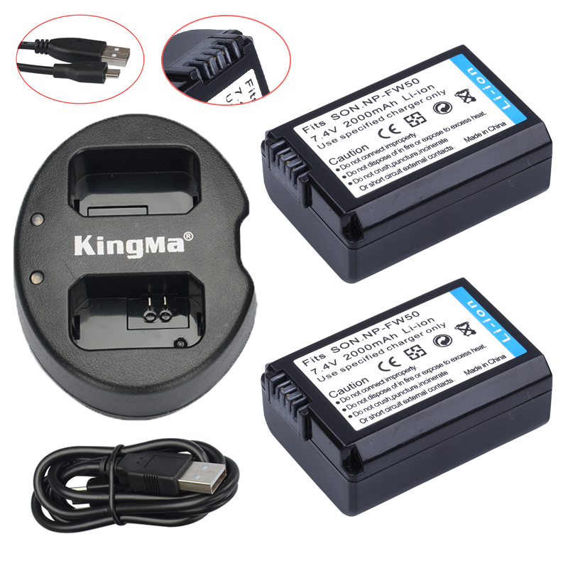 2Pcs NP-FW50 NP FW50 Batteries + USB Dual Charger For Sony NEX-5 NEX-5A NEX-5C NEX-5D NEX-5DB NEX-5HB NEX-5K Alpha 7R II Camera