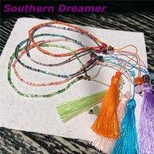 Bohemian Beach Japanese Seed Beads Tassel Charms Beaded Bracelets Multicolor Handmade Friendship Boho Woven Bracelet Girl Blue