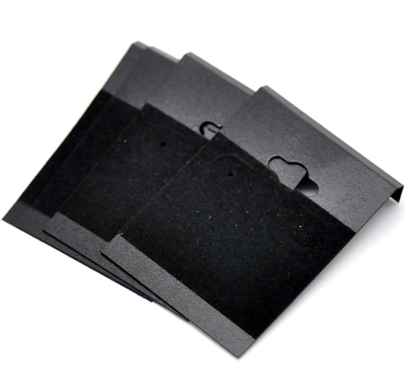 Earring Display-Cards Doreen-Box Plastic X1-3/4-Ear-Hooks B16649 Hot-Black 2-1/2-50pcs