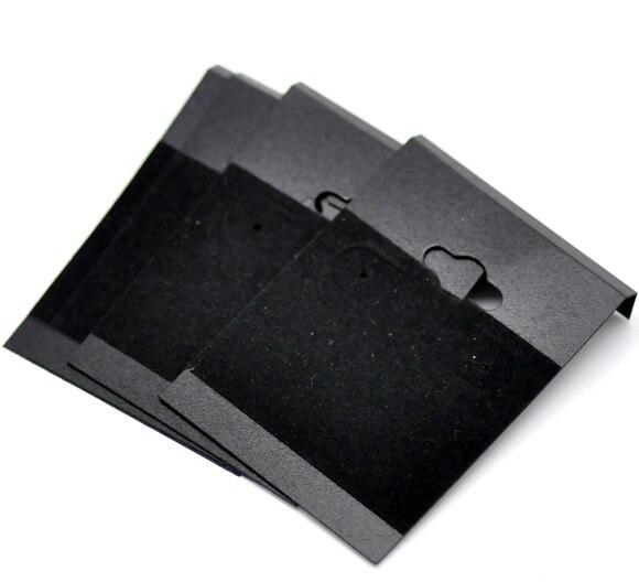 Doreen Box Hot-  Black Ear Hooks Earring Plastic Display Cards 6.2x4.5cm(2-1/2