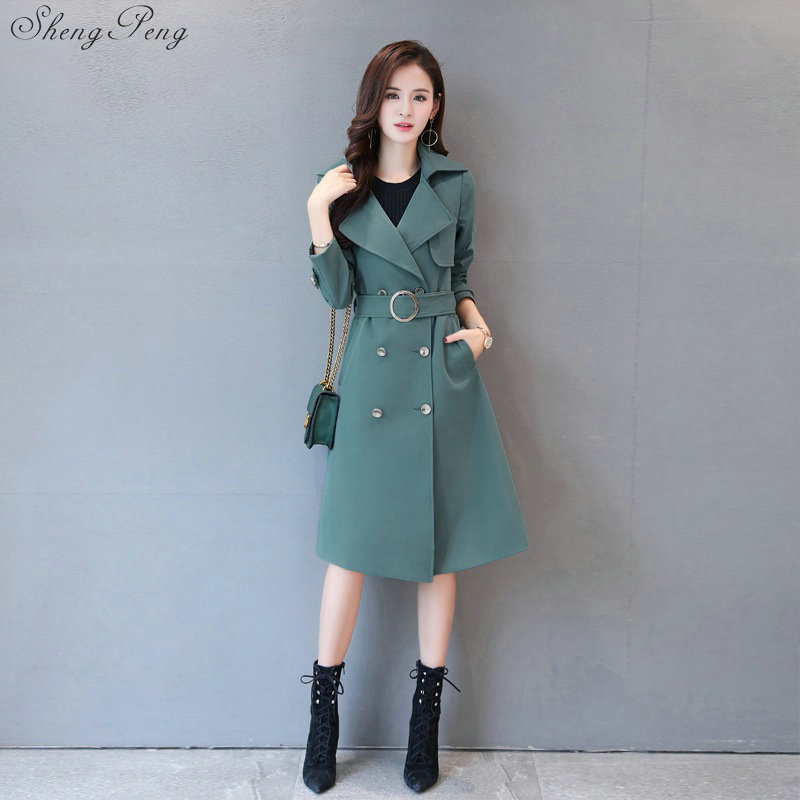 Women Long   Trench   Coat Turn Down Collar Double Breasted 2018 European Style Coat For Woman Belt-Waist Cool   Trench   Coat V711