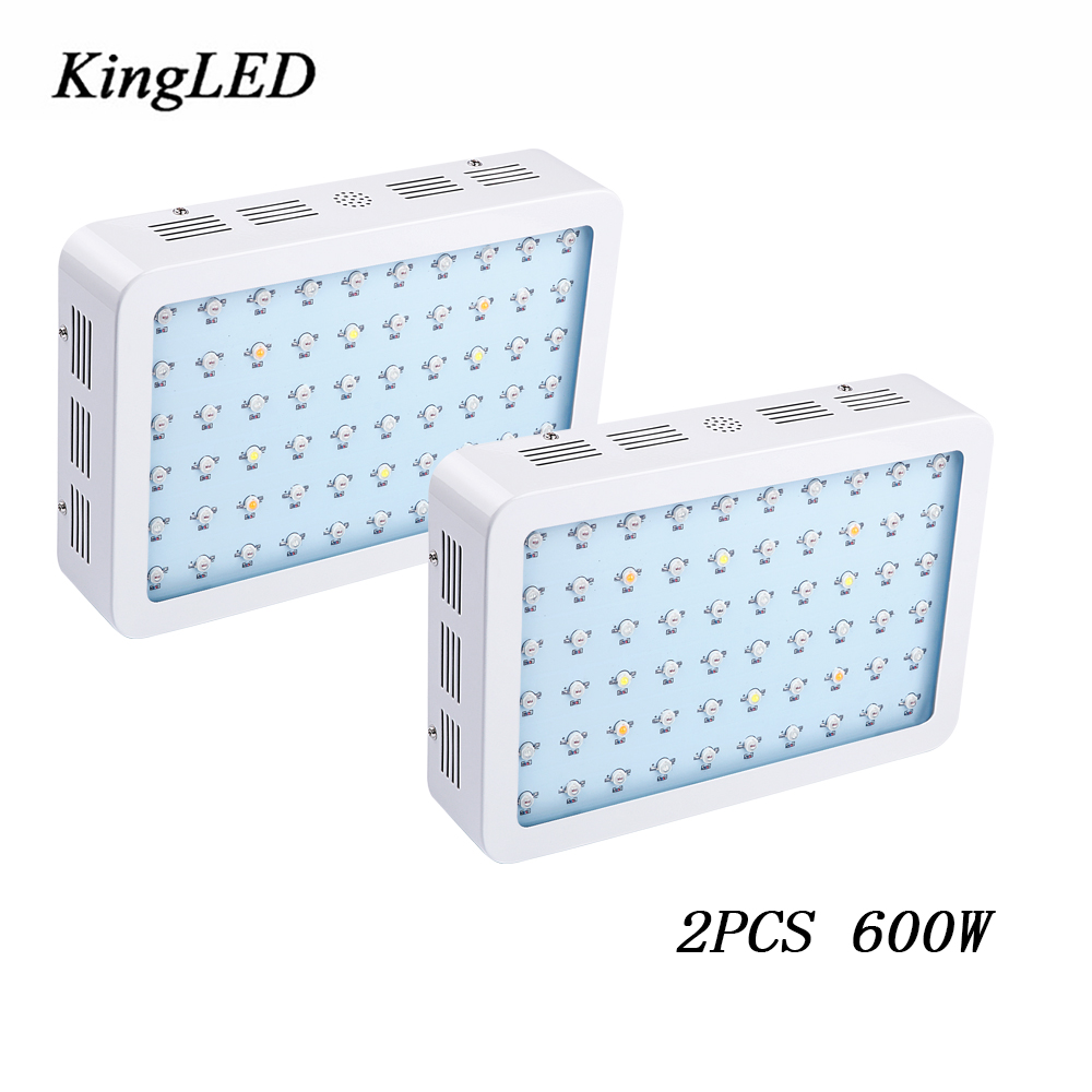 2pcs KingLED 600W Double Chips LED Grow Light Full Spectrum 410-730nm For Indoor Plants Growing Flower Phrase Very High Yield on sale black kingled double chips full spectrum led grow light 600w 800w 1000w 1500w for aquario hydroponic lamp high yield