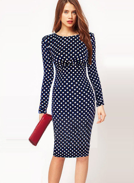 Buy Cheap 2017 New Fashion Womens Patchwork O Neck FullSleeve Tropical Print dots Wear to Work Party Bodycon Sheath Pencil Dress