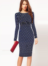 2017 New Fashion Womens Patchwork O Neck FullSleeve Tropical Print dots Wear to Work Party Bodycon Sheath Pencil Dress