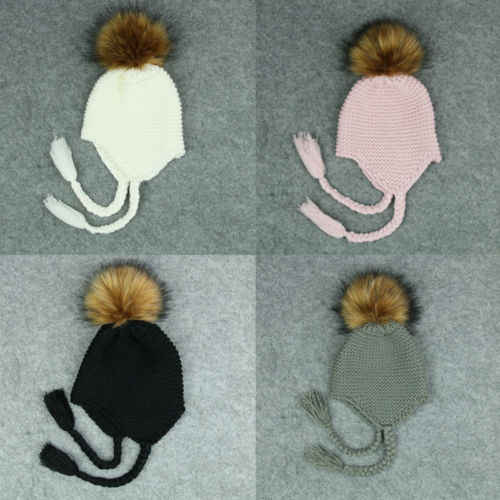 bf926c75f94 ... Baby Kids Fur Pom Hat Baby Accessory Bobble Cap Newborn Boys Girl Warm  Knit Beanie Hat