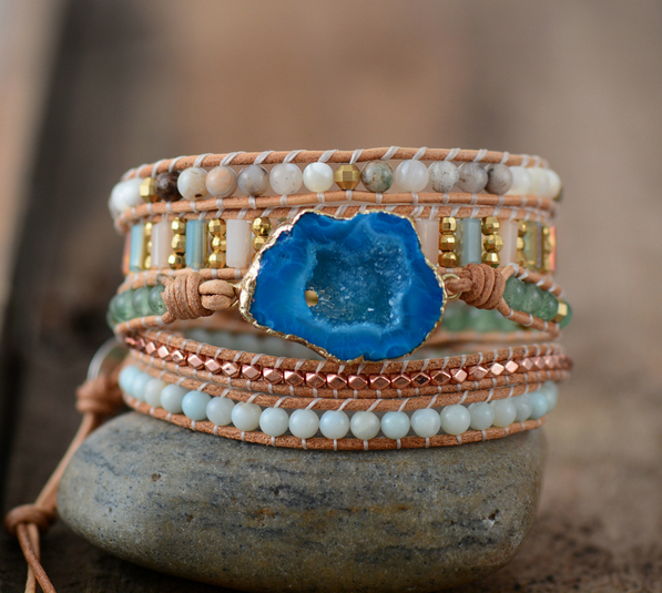 Leather Bracelets Unique Mixed Natural Stones Gilded Drusy Charm 5 Strands Wrap Bracelets Handmade Druzy Bracelet Dropship