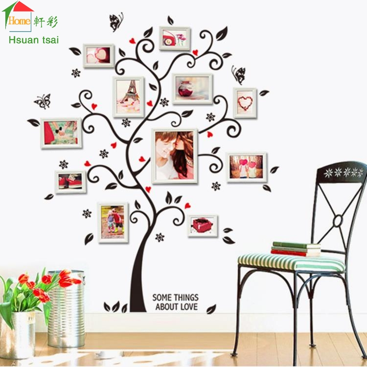 Tree photo frame diy 3d vinyl wall stickers home decor for Home decor on highway 6