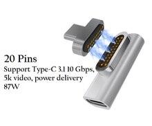 Магнитная USB C адаптер, Поддержка PD Зарядное устройство и трансмиссия данных (10Gbp/s), USB3.1 Тип-C Мощность доставка быстрая зарядка PD87W L 90